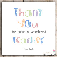 Personalised Thank You Teacher Card Teachers Gift Teaching Assistant Present D12