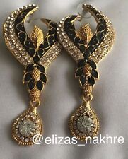 Indian/Pakistani Bollywood Style Black And Gold Drop Earrings