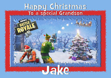 Fortnite personalised A5 christmas card son daughter brother grandson niece name