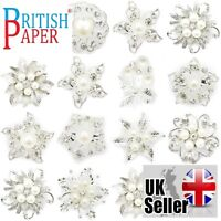 NEW SILVER PIN BACK CRYSTAL PEARL BROOCHES JOB LOT CHANEL BRIDAL WEDDING BOUQUET