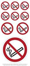 9x Aufkleber Set Rauchen verboten, Nichtraucher, Rauchverbot von ø 3 - 8,5 cm