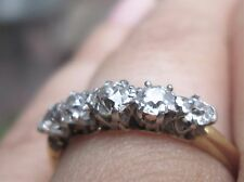 Beautiful Antique 5 Diamond Old Mine Cut Anniversary Ring Band Dated July 1920!
