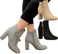 Ladies Women Buckle Zip Up Chelsea Biker Block High Heels Ankle Boots Shoes Size