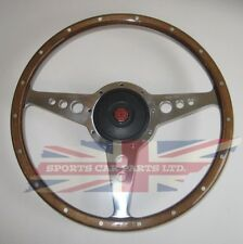 "New 15"" Wood Steering Wheel & Adaptor for  MGB 1968-69 Moto-Lita Moto Lita"