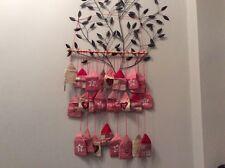 BN large traditional wooden stick  Advent calendar red & beige pockets bag