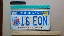 License Plate, Michigan, World's Motor Capital, Old Car, 16 EON
