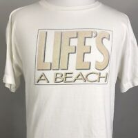 VTG LIFE'S A BEACH DISCOVER CARD 1995 SPRING BREAK SINGLE STITCH USA T SHIRT 2XL