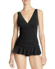 Profile by Gottex Size 6 V-Neck Origami Ruched Swimdress Swimsuit Black NWT $148