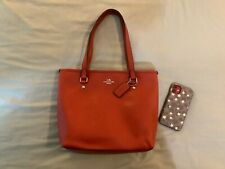 New no Tags Coach City Zip Tote Crossgrain Leather VERMILLION ORANGE