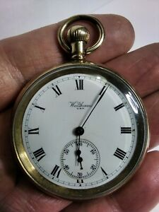 SMASHING GOLD PLATED WALTHAM BOND St, 14s 7 Js, OPEN FACED POCKET WATCH, FWO!.