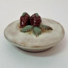 Vtg Hand Thrown Rowantree Pottery Mustard Pot Lid w/Strawberries Blue Hill Me.