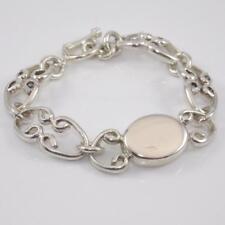 """Sterling Silver Heavy Scroll Link Monogram Link Toggle Bracelet 7"""""""