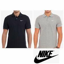 Nike Pique Mens Polo Shirt Grey Black Sports Casual Short Sleeves