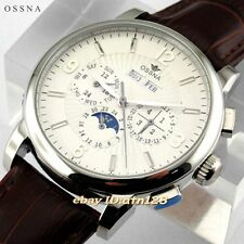 42MM OSSNA MOON PHASE SILVER ANALOG MARKER AUTOMATIC WHITE DIAL MENS WATCH 1609