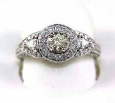 Natural Round Diamond Solitaire Lady's Ring 14k White Gold 1.30Ct