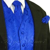 Royal Blue Men Paisley Tuxedo Suit Dress Vest Waistcoat & Neck tie & And Hankie
