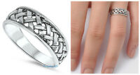 Sterling Silver 925 LADIES MENS BRAIDED DESIGN 6MM SILVER BAND RING SIZES 4-12