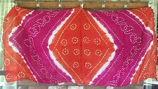 Sarong Cotton Bandhini Indian Tie Dyed Scarf Wall Hanging New Orange White Pink