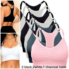 SPORTS BRAS 6 OR 3 BRA YOGA ACTIVE WEAR SEXY Seamless RACER BACK TOP 25015 S-2XL