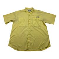 Columbia PFG Performance Fishing Gear Short Sleeve Yellow Button Up Shirt Mens L