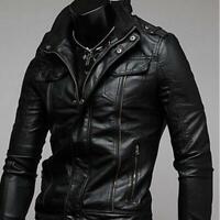 Cool Men Fashion Slim Leather Jacket PU Collar Biker Motorcycle Coat Outwear H