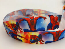 DIY 5 Yard 1'' 25MM Hero Spider-Man Printed Grosgrain Hair Bow Sewing Ribbon