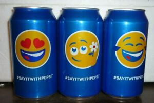 Collectable Pepsi cans:  Set of 3 ''Say it With Pepsi '' Emoji cans