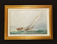 Yacht Race Oil Painting Sailboat Regatta Painting Gold Frame