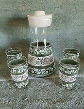 LIBBEY 5-PC.GREEN & WHITE FLORAL DESIGN CARAFE & 4 JUICE GLASSES