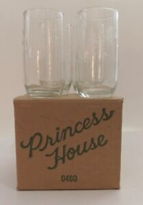 """4 New Princess House Heritage Crystal Etched Tumblers 5"""" H Glass 0460"""