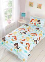 Rapport Kids Children's Mermaid Friend's Fish Duvet Cover Bedding Set Multi