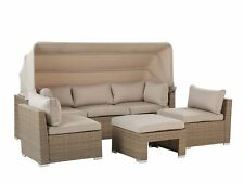 More details for garden lounge set pe rattan sofa chairs cushions canopy 5-seater beige coccolia
