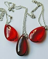 Unique Fashion Gift Large Scarlet/Wine Red Glass Prism Chain Silver Necklace
