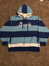 MENS ATLANTA BRAVES MITCHELL & NESS HOODIE BLUE Men's Size 2XL