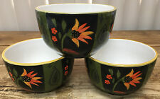 Arabian Flower 222 Fifth Floral 3 Coupe Cereal Bowls 290549 Black Green CRAZE