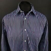 Tommy Hilfiger Mens Vintage Shirt LARGE Long Sleeve Blue Regular Striped 2 Ply