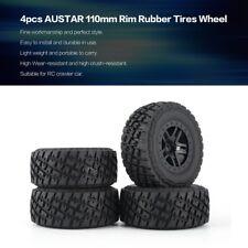 4PCS AUSTAR 110mm Rim Rubber Tires Wheel for Traxxas Slash 4X4 RC Crawler Car YK