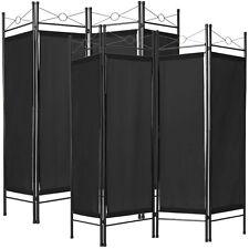 2x Biombos diseño 4-panel tela divisor habitación separador separación negro NUE