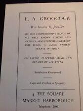 Ephemera 1972 Market Harborough Advert E A Groocock Jewellers f1b