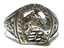 SIZE 12 MENS VINTAGE STERLING SILVER LUCKY HORSE SHOE SOUTHWESTERN RING BAND