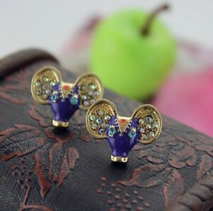 Stunning Purple Indian Gem Cow Cattle Crystal Mouse Gold Earrings With Gift Bag