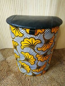 Fab Vintage Retro Reupholstered D Laundry Bin Basket Wax Print & Black Leather