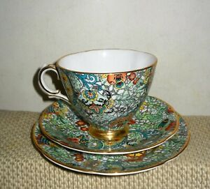 VINTAGE ROYAL TARA IRELAND PAISLEY CHINTZ TEA CUP SAUCER PLATE, 3-PIECE SET