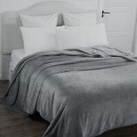 DARK GREY Super Soft Super Plush Blanket 350GSM Queen King Size 220x240cm New