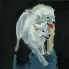 YARY DLUHOS ORIGINAL OIL PAINTING Dogs Pet Animal Best Friends White Canine