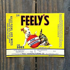2 Original Old DR. FEELY'S DOG Shampoo Label 1940s San Francisco California NOS