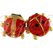 CRYSTAL GOLD PLATED DOUBLE RED LADYBUG PIN BROOCH MADE WITH SWAROVSKI ELEMENTS