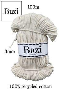 Macramé Cord String 100% Natural Recycled Soft Cotton Yarn 3mm BEIGE ECRU 100m