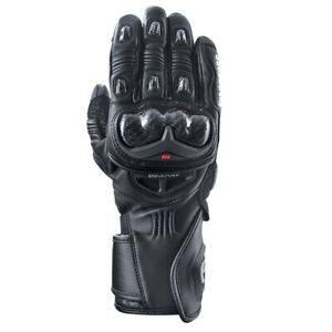 Oxford RP-2R Leather Sports Long Cuff Motorcycle Motorbike Glove - Black