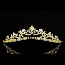 Gold Bridal Flower Rhinestones Crystal Wedding Crown Tiara 7921